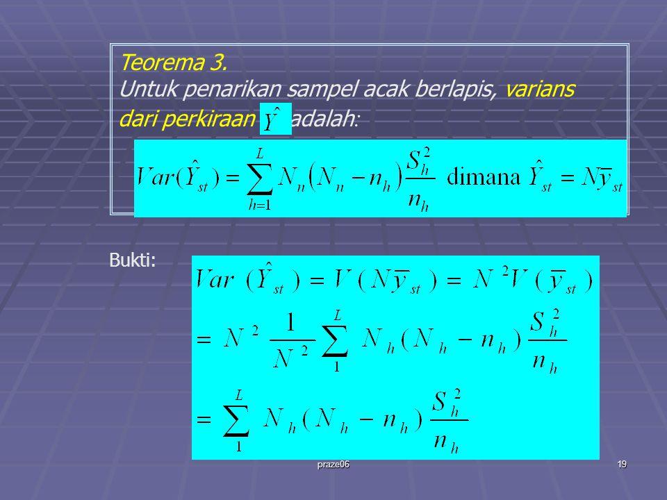 praze0619 Teorema 3. Untuk penarikan sampel acak berlapis, varians dari perkiraan adalah : Bukti: