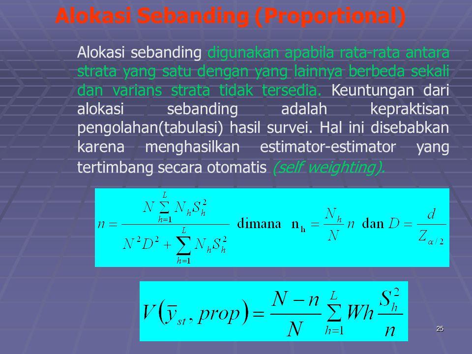 praze0625 Alokasi Sebanding (Proportional) Alokasi sebanding digunakan apabila rata-rata antara strata yang satu dengan yang lainnya berbeda sekali dan varians strata tidak tersedia.