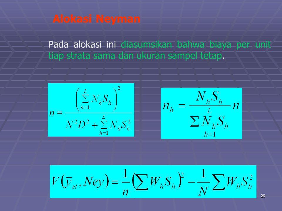 praze0626 Alokasi Neyman Pada alokasi ini diasumsikan bahwa biaya per unit tiap strata sama dan ukuran sampel tetap.