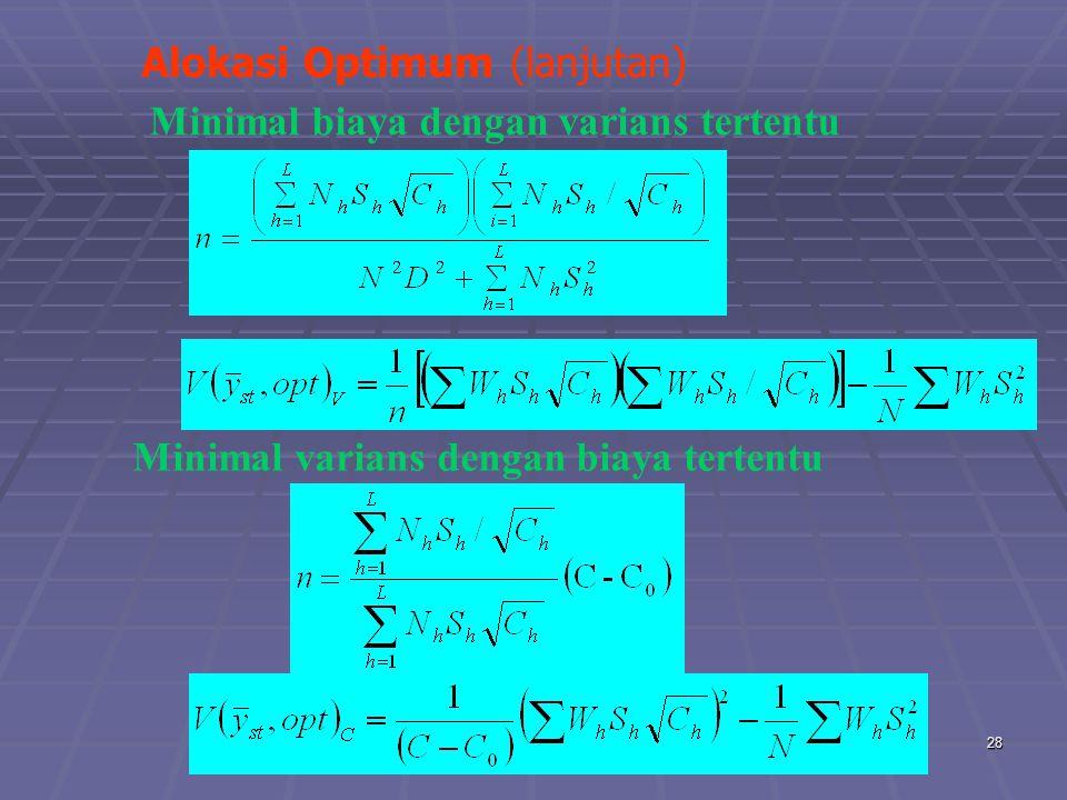 praze0628 Alokasi Optimum (lanjutan) Minimal varians dengan biaya tertentu Minimal biaya dengan varians tertentu
