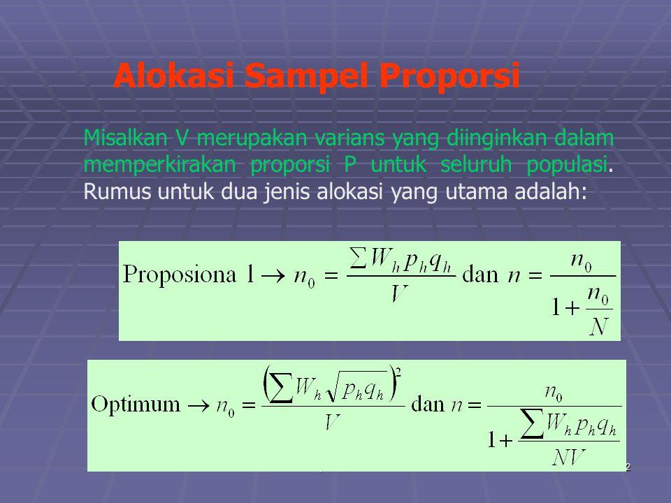 praze0632 Alokasi Sampel Proporsi Misalkan V merupakan varians yang diinginkan dalam memperkirakan proporsi P untuk seluruh populasi. Rumus untuk dua