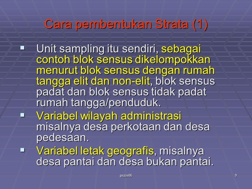 praze069 Cara pembentukan Strata (1)  Unit sampling itu sendiri, sebagai contoh blok sensus dikelompokkan menurut blok sensus dengan rumah tangga eli