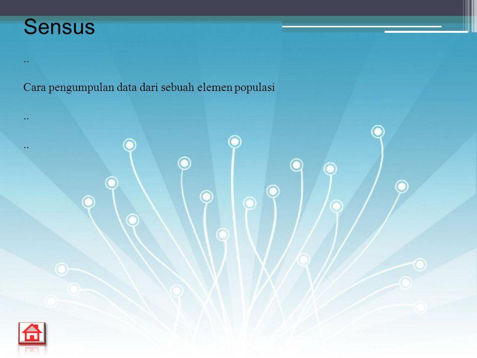 .. Cara pengumpulan data dari sebuah elemen populasi.. Sensus