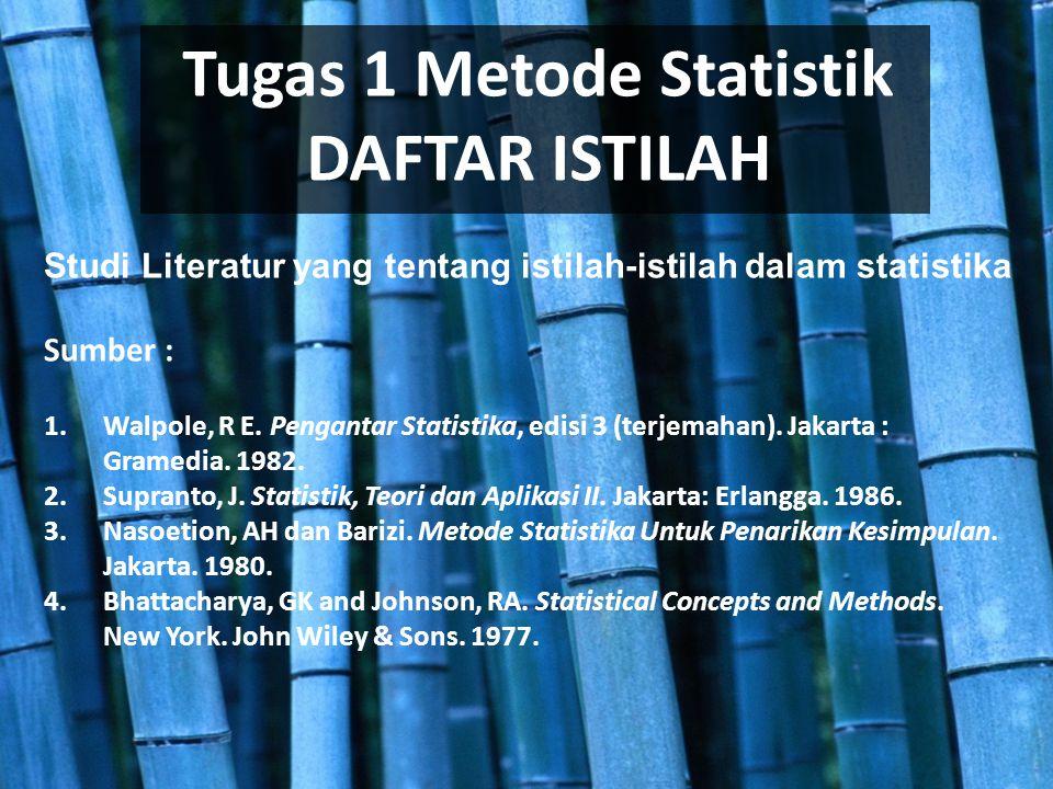 ISTILAH-ISTILAH STATISTIK Metode Statistik nonparametrik Metode statistik parametrik Univariat Bivariat Multivariat Penarikan Kesimpulan Induksi Penarikan Kesimpulan Deduksi Statistika Inferensia Metode Statistik Statistik Deskriptif Kontinu Konstanta Populasi Sampel Statistik Variabel Sensus Survei Diskrit Variabel Acak Nominal Contoh Ordinal Interval Parameter Ratio Lain-lain