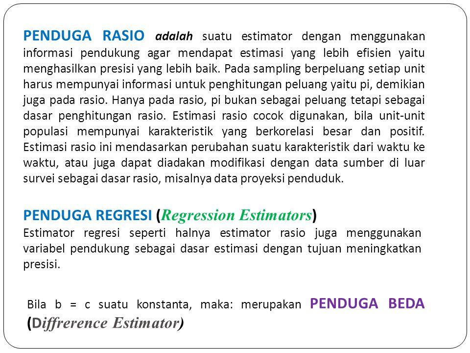 PENDUGA RASIO adalah suatu estimator dengan menggunakan informasi pendukung agar mendapat estimasi yang lebih efisien yaitu menghasilkan presisi yang