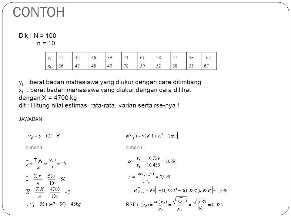 CONTOH yiyi 51424639716158575867 xixi 56474840785952585567 Dik : N = 100 n = 10 y i : berat badan mahasiswa yang diukur dengan cara ditimbang x i : be