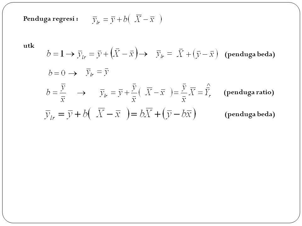 Penduga regresi : utk (penduga ratio) (penduga beda)