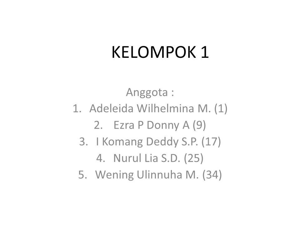 KELOMPOK 1 Anggota : 1.Adeleida Wilhelmina M. (1) 2.