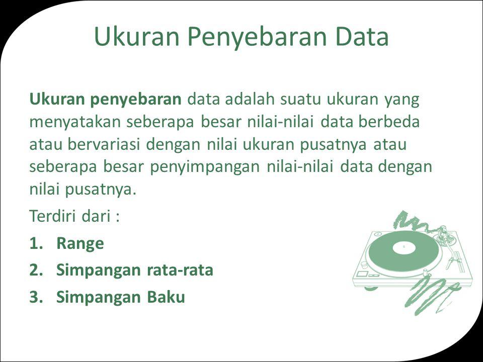 Ukuran Penyebaran Data Ukuran penyebaran data adalah suatu ukuran yang menyatakan seberapa besar nilai-nilai data berbeda atau bervariasi dengan nilai ukuran pusatnya atau seberapa besar penyimpangan nilai-nilai data dengan nilai pusatnya.
