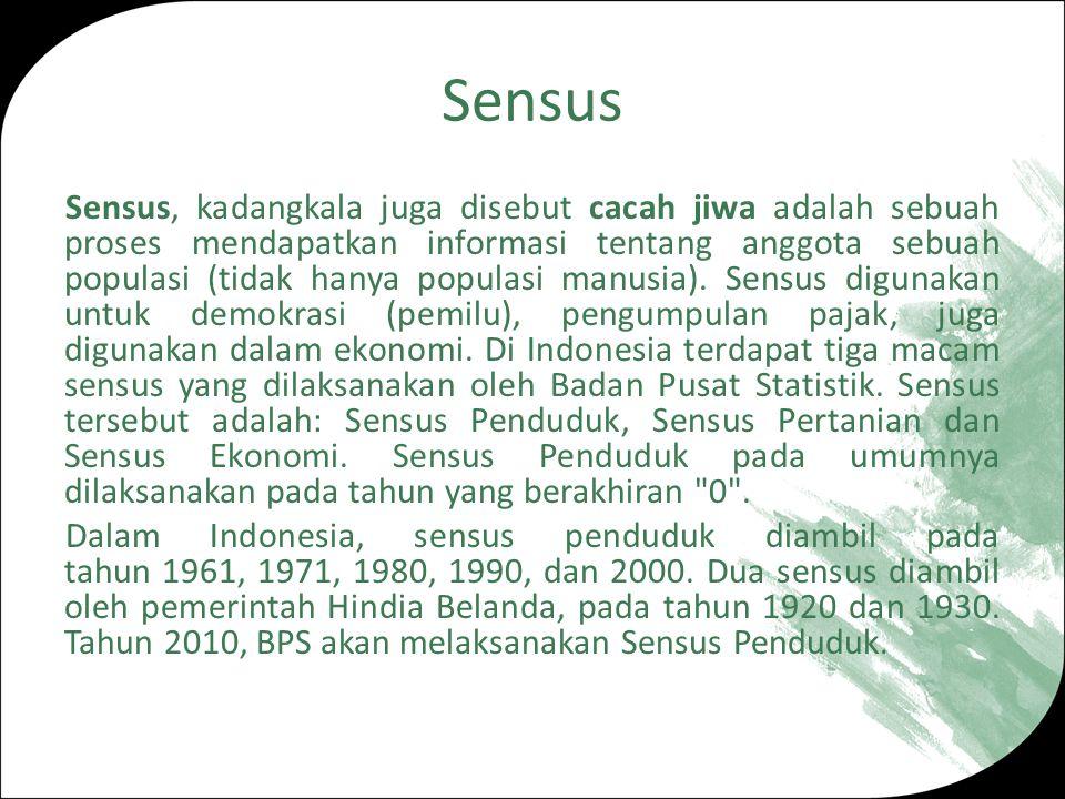 Sensus Sensus, kadangkala juga disebut cacah jiwa adalah sebuah proses mendapatkan informasi tentang anggota sebuah populasi (tidak hanya populasi manusia).
