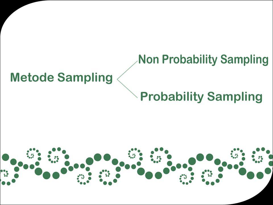 Non-Probability Sampling Ada beberapa jenis non-probability sampling yang sering dipergunakan : 1.