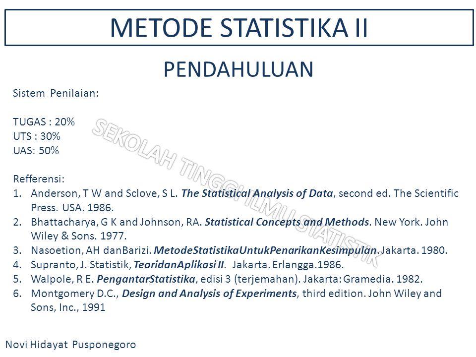 METODE STATISTIKA II Novi Hidayat Pusponegoro PENDAHULUAN Sistem Penilaian: TUGAS : 20% UTS : 30% UAS: 50% Refferensi: 1.Anderson, T W and Sclove, S L