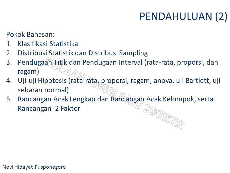 Novi Hidayat Pusponegoro PENDAHULUAN (2) Pokok Bahasan: 1.Klasifikasi Statistika 2.Distribusi Statistik dan Distribusi Sampling 3.Pendugaan Titik dan