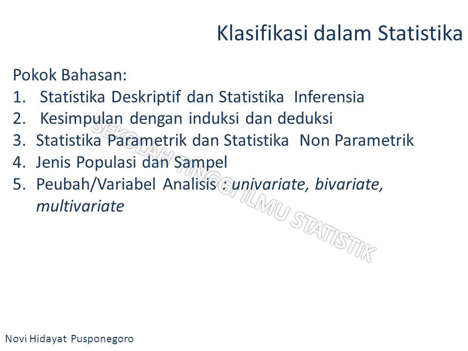 Novi Hidayat Pusponegoro Klasifikasi dalam Statistika Pokok Bahasan: 1. Statistika Deskriptif dan Statistika Inferensia 2. Kesimpulan dengan induksi d