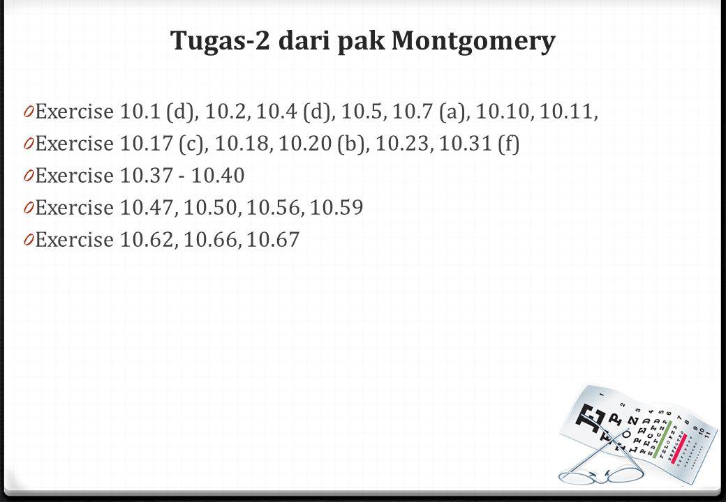 Tugas-2 dari pak Montgomery 0 Exercise 10.1 (d), 10.2, 10.4 (d), 10.5, 10.7 (a), 10.10, 10.11, 0 Exercise 10.17 (c), 10.18, 10.20 (b), 10.23, 10.31 (f