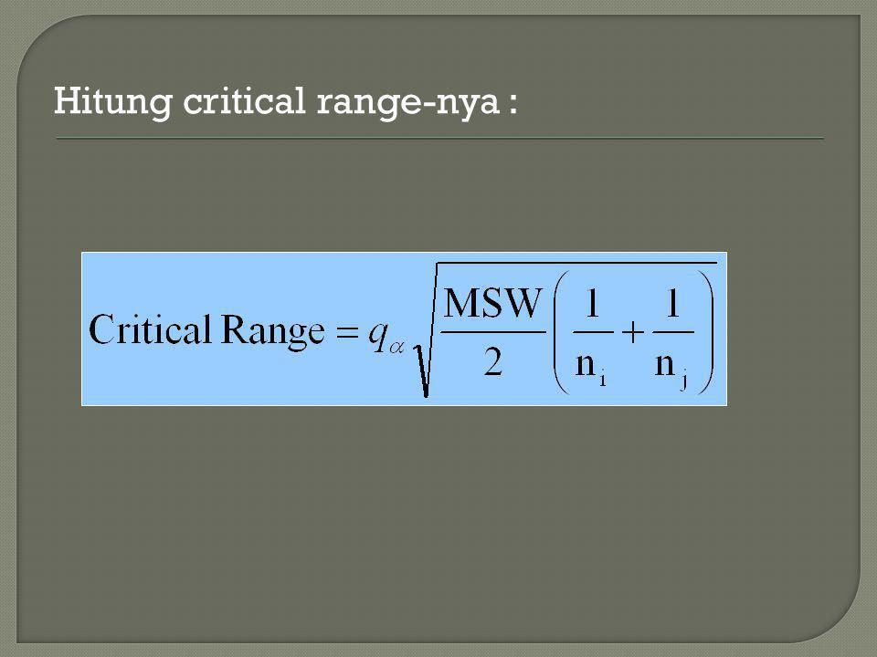 Hitung critical range-nya :