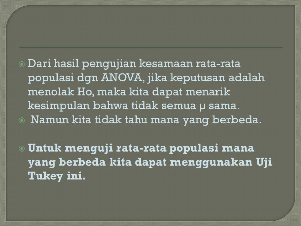  Dari hasil pengujian kesamaan rata-rata populasi dgn ANOVA, jika keputusan adalah menolak Ho, maka kita dapat menarik kesimpulan bahwa tidak semua µ