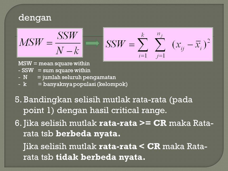 dengan MSW = mean square within - SSW = sum square within - N = jumlah seluruh pengamatan - k = banyaknya populasi (kelompok) 5. Bandingkan selisih mu