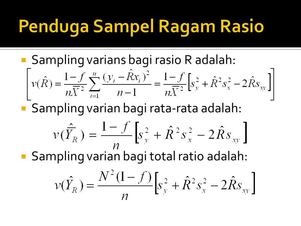  Sampling varians bagi rasio R adalah:  Sampling varian bagi rata-rata adalah:  Sampling varian bagi total ratio adalah: