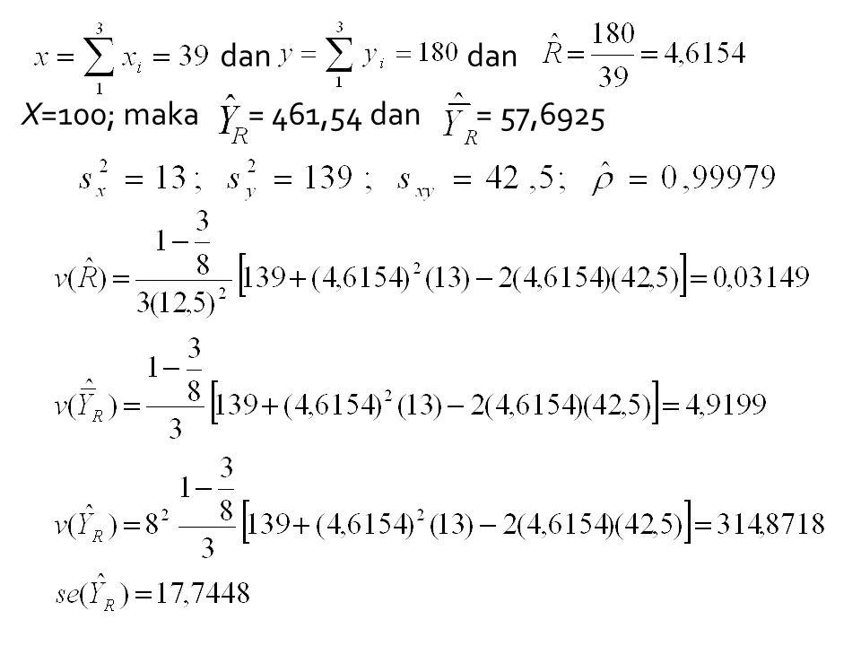 dan dan X=100; maka = 461,54 dan = 57,6925
