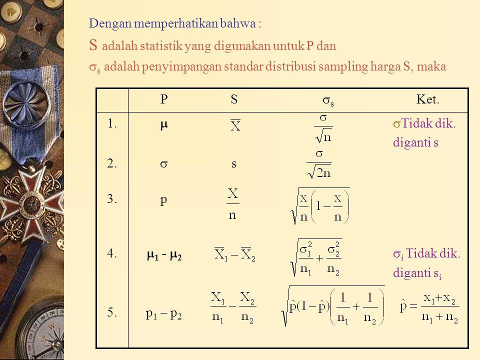 Dengan memperhatikan bahwa : S adalah statistik yang digunakan untuk P dan  s adalah penyimpangan standar distribusi sampling harga S, maka p 1 – p 2