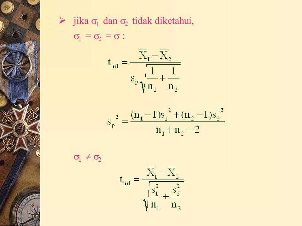  jika  1 dan  2 tidak diketahui,  1 =  2 =  : 1  21  2