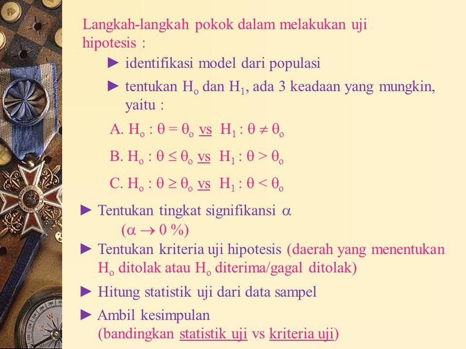 Contoh : (uji hipotesis untuk mean populasi) a) distribusi populasi tidak diketahui, ambil n cukup besar ( n  30) b) distribusi populasi normal -  diketahui -  tidak diketahui a) – H o :  =  o versus H 1 : A.