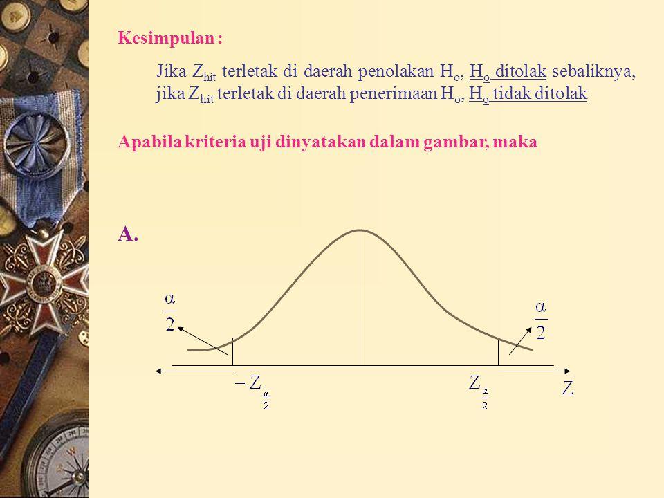  Kesimpulan Bandingkan hasil perhitungan dengan daerah kritis/ kriteria uji untuk menentukan apakah H o ditolak/ diterima  Uji hipotesis beda mean dua populasi dependen : (perbandingan pasangan) digunakan data berpasangan (X 11, X 12 ), (X 21, X 22 ), …, (X n1, X n2 ) untuk memperoleh d 1, d 2, …, d n dengan d i =X i1 – X i2