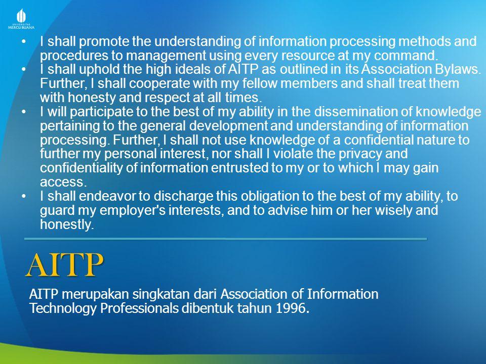 Lanjutan AITP I shall uphold its ethical and moral principles.