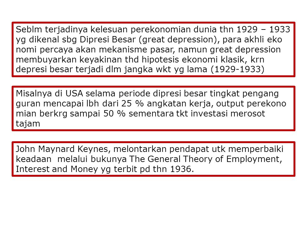1929 – 1933 Great Depression Mekanisme Pasar Tdk Ada Campur Tangan Pemerintah Fokus pd Sisi Penawaran Supply Creates its own Demand Model KlasikModel