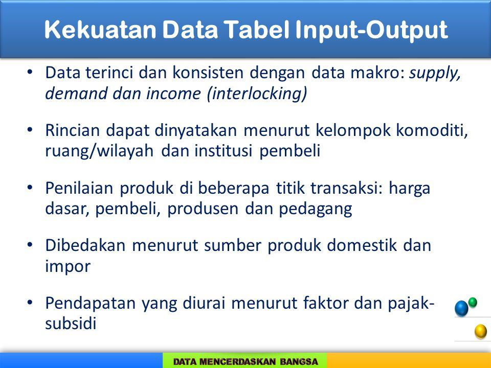 Kekuatan Data Tabel Input-Output Data terinci dan konsisten dengan data makro: supply, demand dan income (interlocking) Rincian dapat dinyatakan menur