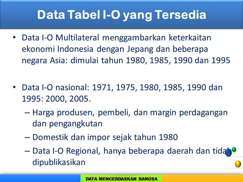 Data Tabel I-O yang Tersedia Data I-O Multilateral menggambarkan keterkaitan ekonomi Indonesia dengan Jepang dan beberapa negara Asia: dimulai tahun 1