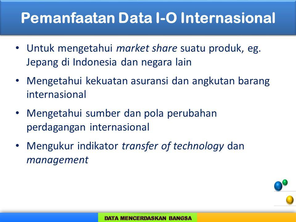 Pemanfaatan Data I-O Internasional Untuk mengetahui market share suatu produk, eg. Jepang di Indonesia dan negara lain Mengetahui kekuatan asuransi da