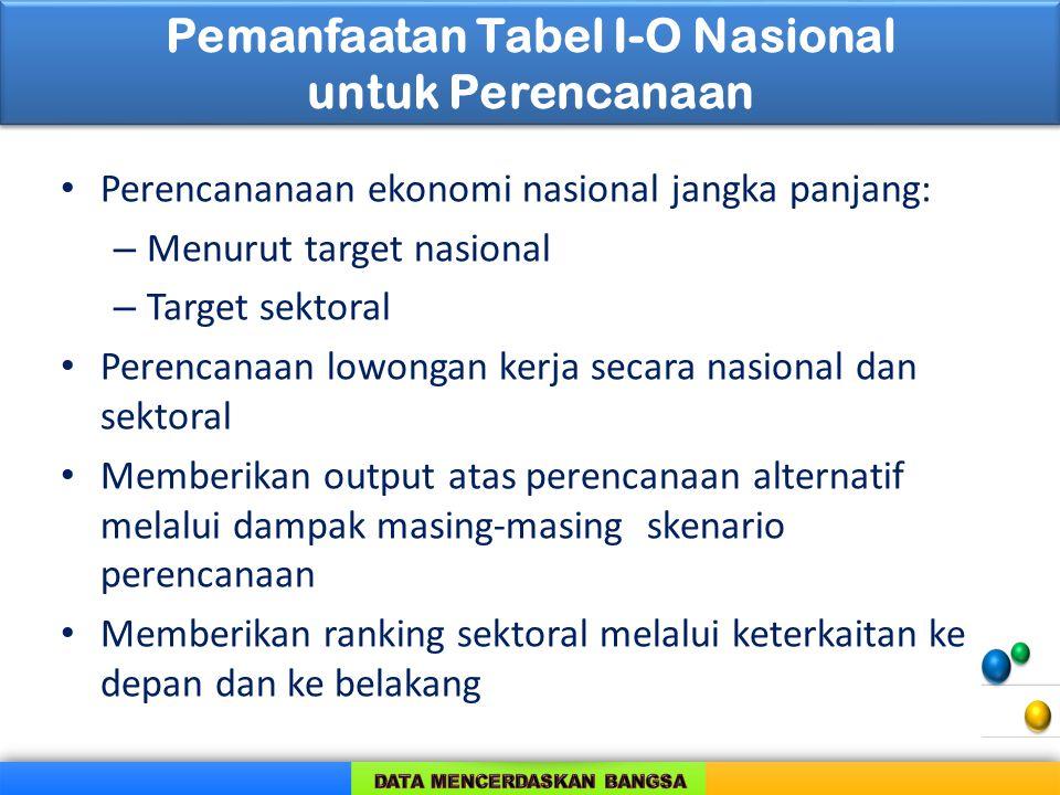 Pemanfaatan Tabel I-O Nasional untuk Perencanaan Perencananaan ekonomi nasional jangka panjang: – Menurut target nasional – Target sektoral Perencanaa