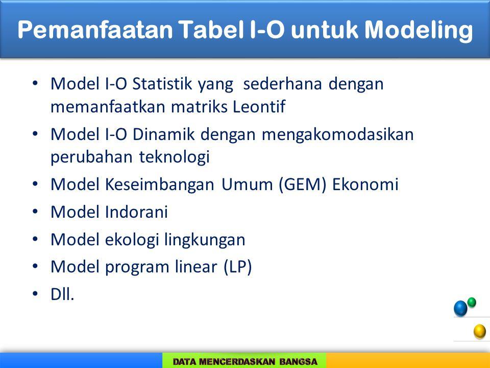 Pemanfaatan Tabel I-O untuk Modeling Model I-O Statistik yang sederhana dengan memanfaatkan matriks Leontif Model I-O Dinamik dengan mengakomodasikan