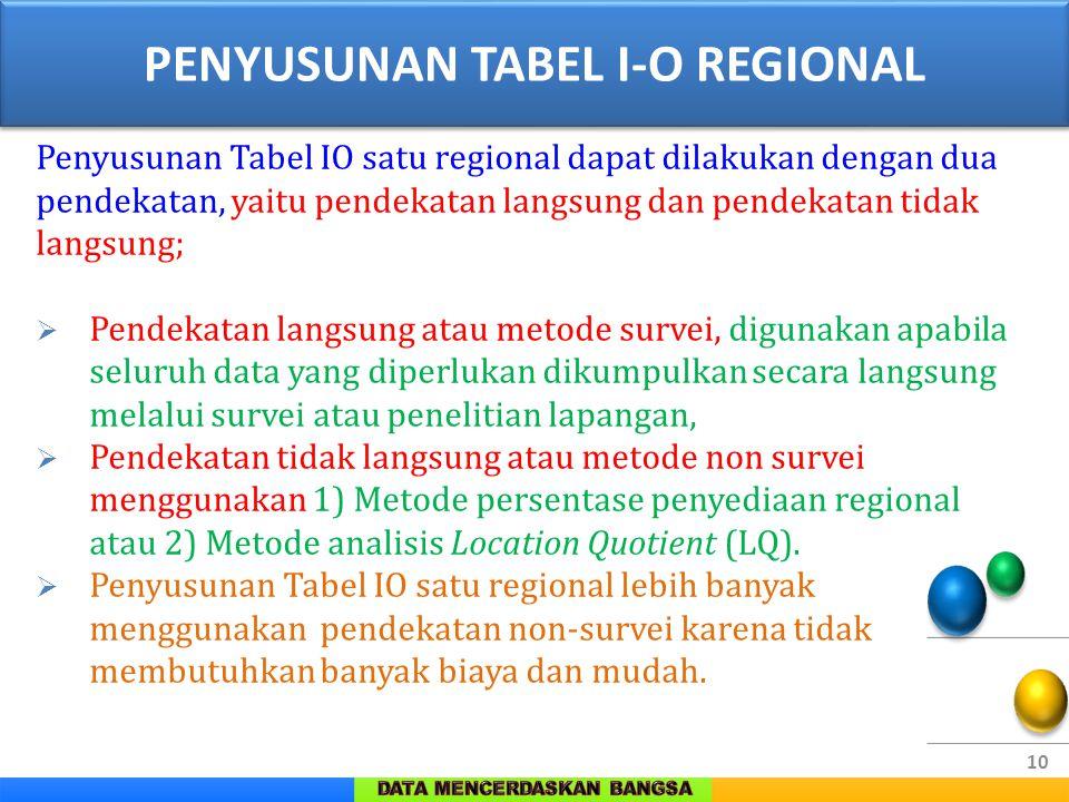 10 Penyusunan Tabel IO satu regional dapat dilakukan dengan dua pendekatan, yaitu pendekatan langsung dan pendekatan tidak langsung;  Pendekatan lang