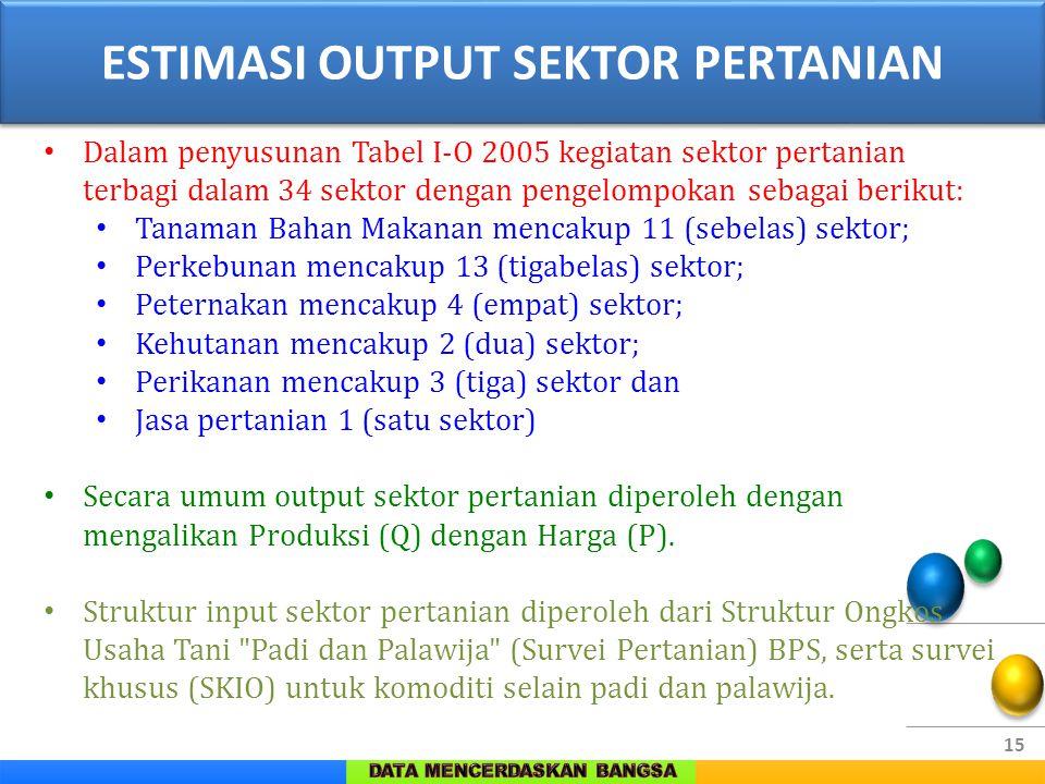 15 Dalam penyusunan Tabel I-O 2005 kegiatan sektor pertanian terbagi dalam 34 sektor dengan pengelompokan sebagai berikut: Tanaman Bahan Makanan menca
