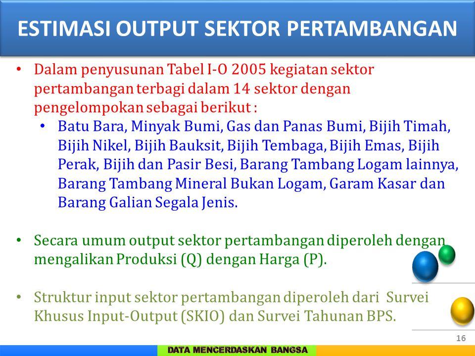 16 Dalam penyusunan Tabel I-O 2005 kegiatan sektor pertambangan terbagi dalam 14 sektor dengan pengelompokan sebagai berikut : Batu Bara, Minyak Bumi,