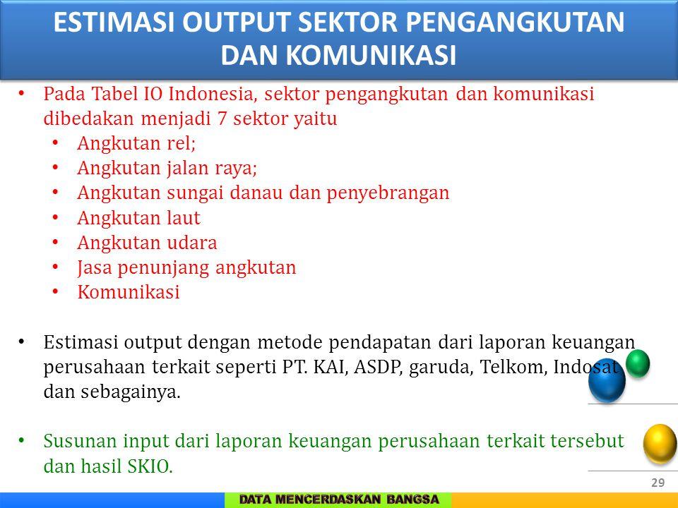 29 Pada Tabel IO Indonesia, sektor pengangkutan dan komunikasi dibedakan menjadi 7 sektor yaitu Angkutan rel; Angkutan jalan raya; Angkutan sungai dan