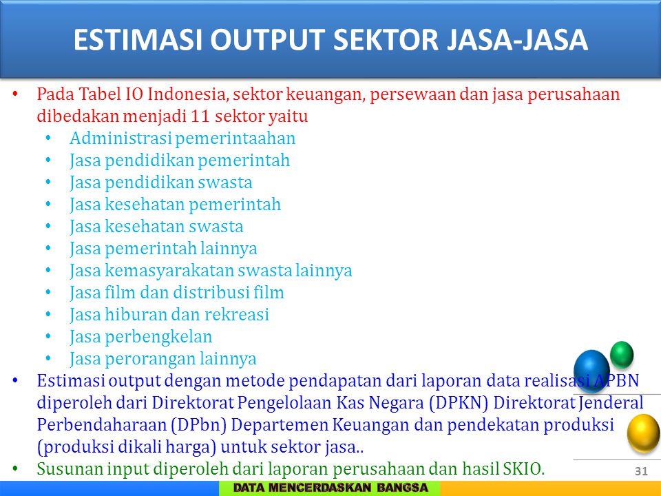 31 Pada Tabel IO Indonesia, sektor keuangan, persewaan dan jasa perusahaan dibedakan menjadi 11 sektor yaitu Administrasi pemerintaahan Jasa pendidika