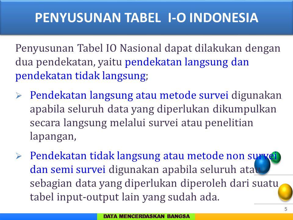 5 Penyusunan Tabel IO Nasional dapat dilakukan dengan dua pendekatan, yaitu pendekatan langsung dan pendekatan tidak langsung;  Pendekatan langsung a