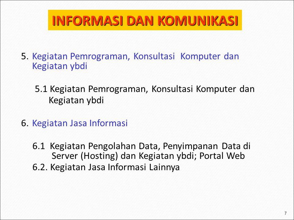 7 5.Kegiatan Pemrograman, Konsultasi Komputer dan Kegiatan ybdi 5.1 Kegiatan Pemrograman, Konsultasi Komputer dan Kegiatan ybdi 6.Kegiatan Jasa Informasi 6.1 Kegiatan Pengolahan Data, Penyimpanan Data di Server (Hosting) dan Kegiatan ybdi; Portal Web 6.2.