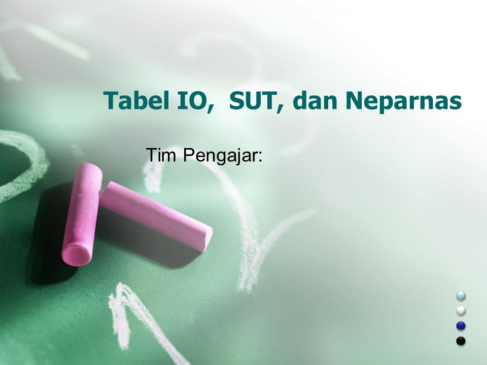 Tabel IO, SUT, dan Neparnas Tim Pengajar: