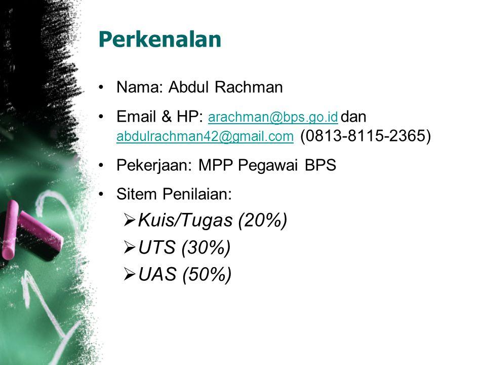 Perkenalan Nama: Abdul Rachman Email & HP: arachman@bps.go.id dan abdulrachman42@gmail.com (0813-8115-2365) arachman@bps.go.id abdulrachman42@gmail.com Pekerjaan: MPP Pegawai BPS Sitem Penilaian:  Kuis/Tugas (20%)  UTS (30%)  UAS (50%)