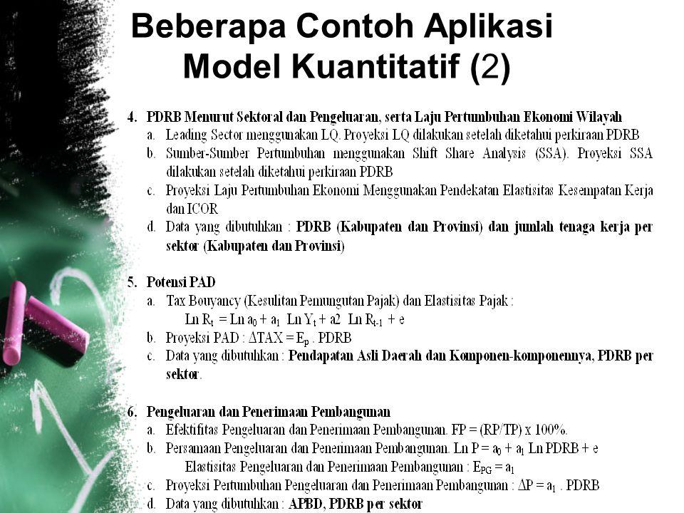8 Beberapa Contoh Aplikasi Model Kuantitatif (2)