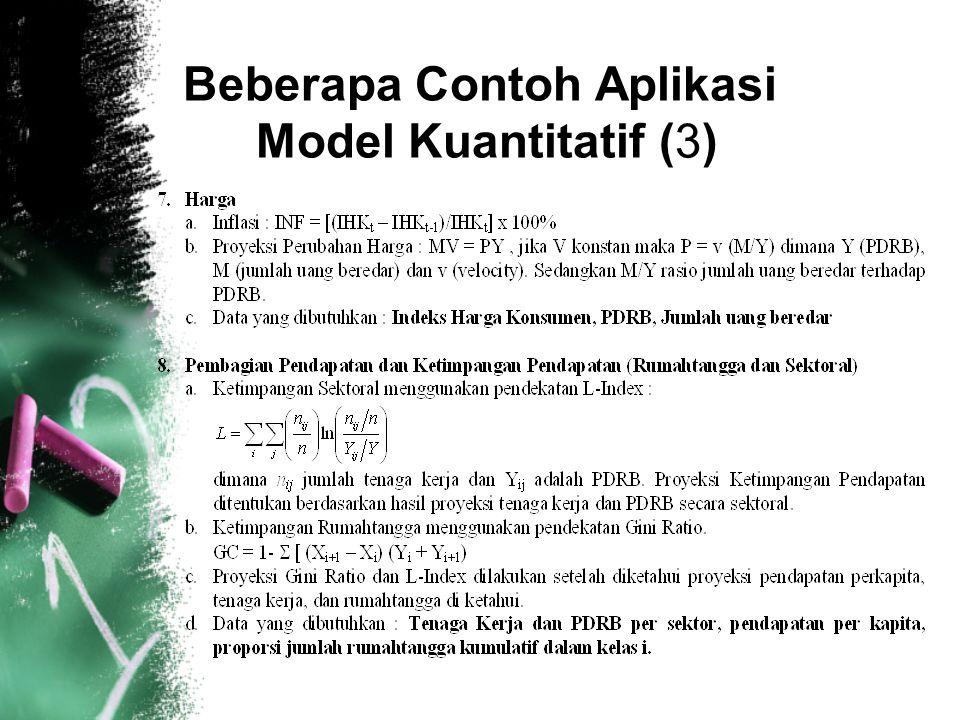 9 Beberapa Contoh Aplikasi Model Kuantitatif (3)