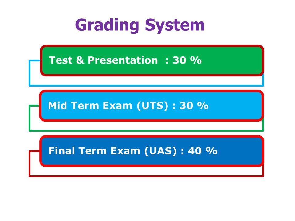 Grading System Test & Presentation : 30 %Mid Term Exam (UTS) : 30 %Final Term Exam (UAS) : 40 %