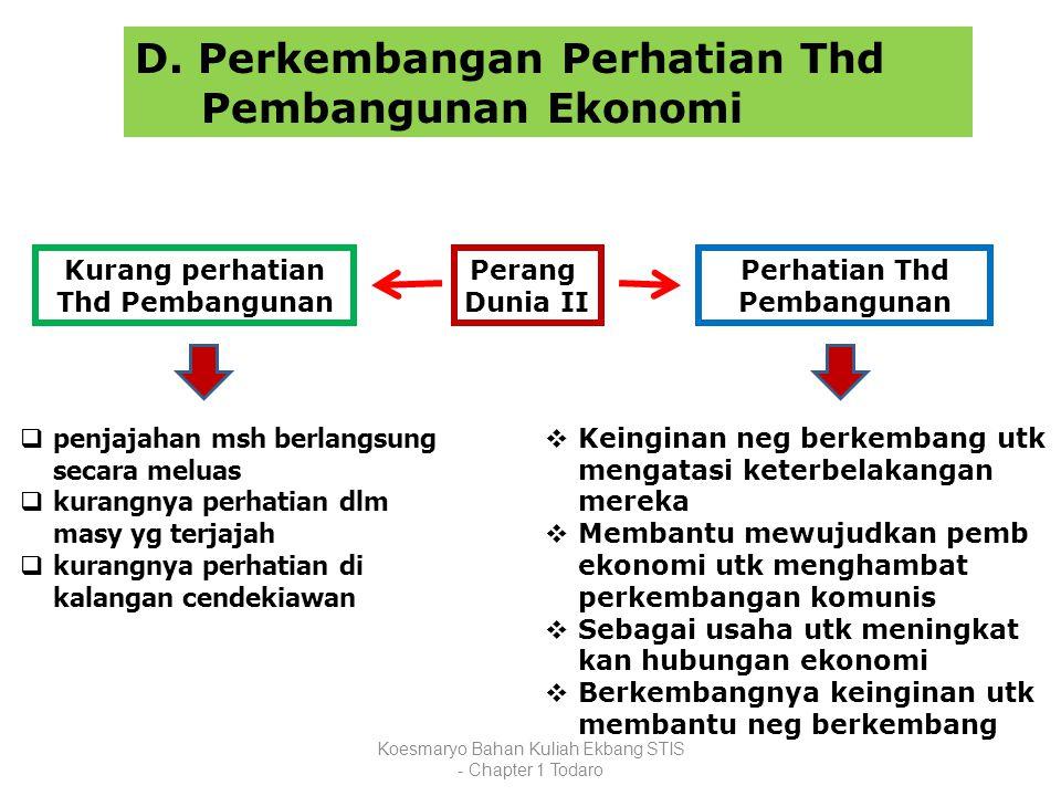 Koesmaryo Bahan Kuliah Ekbang STIS - Chapter 1 Todaro D. Perkembangan Perhatian Thd Pembangunan Ekonomi Perang Dunia II  penjajahan msh berlangsung s