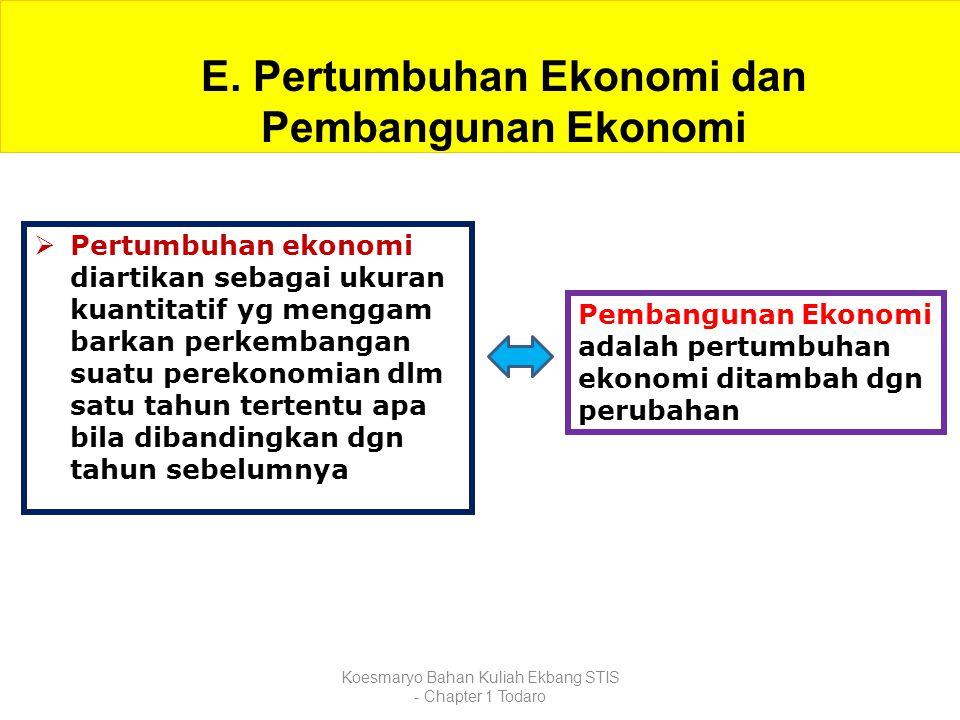 Koesmaryo Bahan Kuliah Ekbang STIS - Chapter 1 Todaro E. Pertumbuhan Ekonomi dan Pembangunan Ekonomi  Pertumbuhan ekonomi diartikan sebagai ukuran ku
