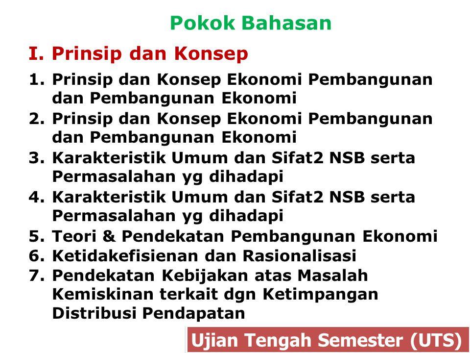 Pokok Bahasan I. Prinsip dan Konsep Ujian Tengah Semester (UTS) 1.Prinsip dan Konsep Ekonomi Pembangunan dan Pembangunan Ekonomi 3.Karakteristik Umum